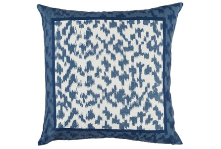 Outdoor Accent Pillow-Outdoor Indigo Blue Border 22X22