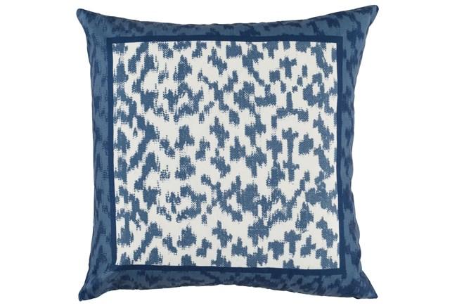 Outdoor Accent Pillow-Outdoor Indigo Blue Border 22X22 - 360