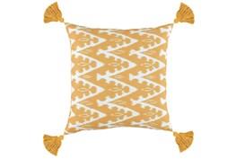 Outdoor Accent Pillow-Outdoor Yellow Zig Zag Tassels 18X18