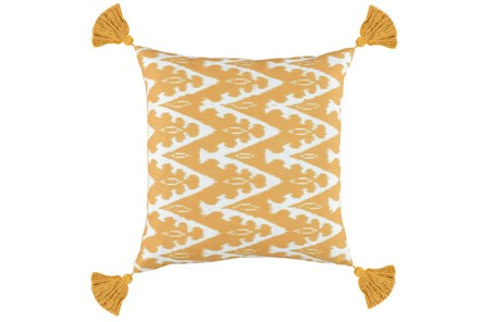 Outdoor Accent Pillow-Outdoor Yellow Zig Zag Tassels 18X18 - Main