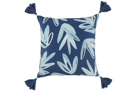 Outdoor Accent Pillow-Outdoor Aqua Leaves W/Tassels 18X18