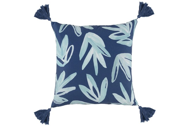 Outdoor Accent Pillow-Outdoor Aqua Leaves W/Tassels 18X18 - 360