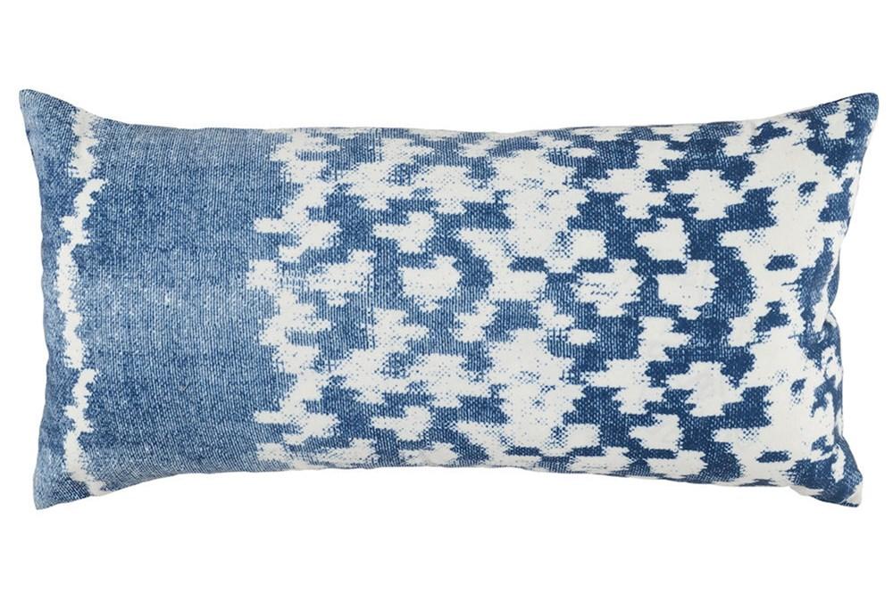 Outdoor Accent Pillow-Outdoor Indigo Blue Side Band 12X24
