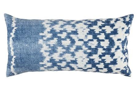 Outdoor Accent Pillow-Outdoor Indigo Blue Side Band 12X24 - Main