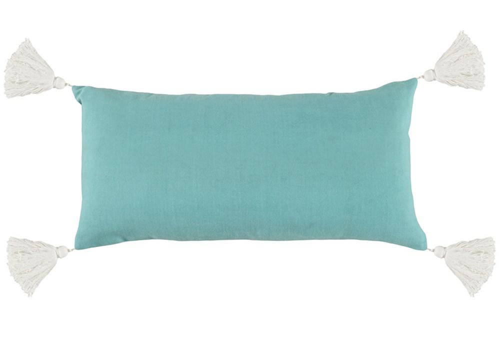 Outdoor Accent Pillow-Outdoor Aqua Solid  W/Tassles 12X24