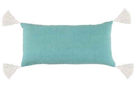 Outdoor Accent Pillow-Outdoor Aqua Solid  W/Tassles 12X24