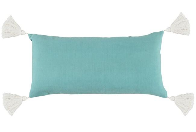 Outdoor Accent Pillow-Outdoor Aqua Solid  W/Tassles 12X24 - 360