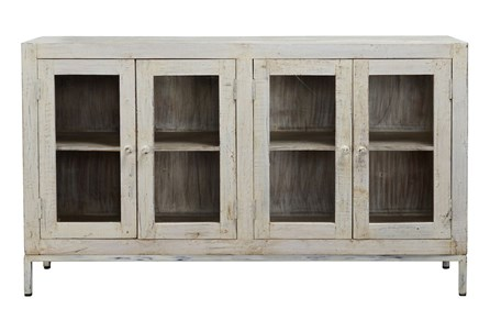 Reclaimed Teak 4 Door White Buffet