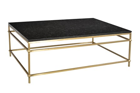 Black Marble And Brass Cocktail Table