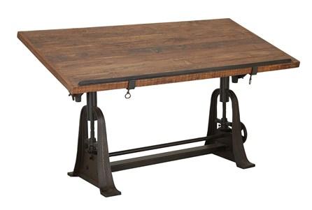 Teak Metal Crank Desk