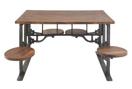 Teak Metal Dining Table W/Swivel Stools