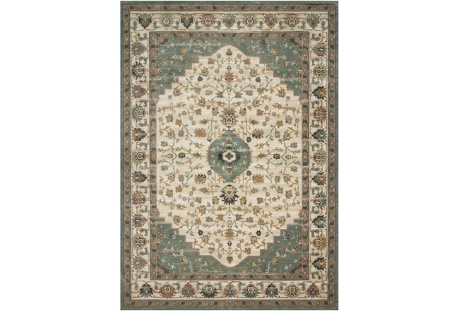 91X130 Rug-Magnolia Homes Evie Ivory/Jade By Joanna Gaines - 360