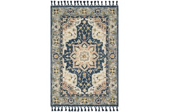 "7'8""x9'8"" Rug-Magnolia Home Kasuri Blue/Multi By Joanna Gaines"