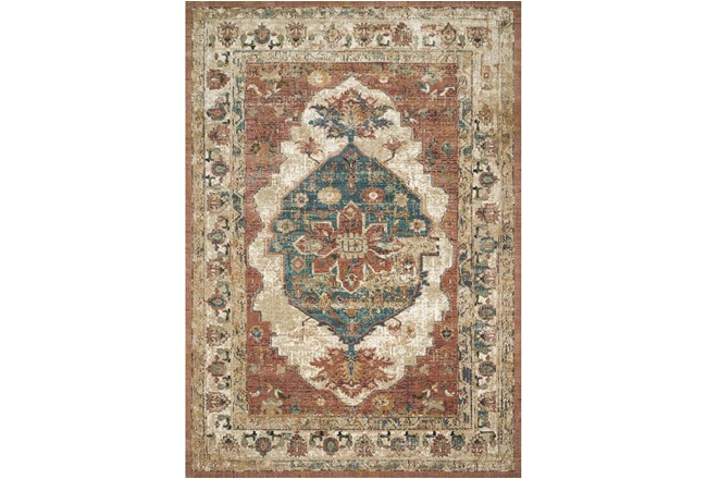 91 Inch Round Rug-Magnolia Homes Evie Spice/Multi By Joanna Gaines - 360