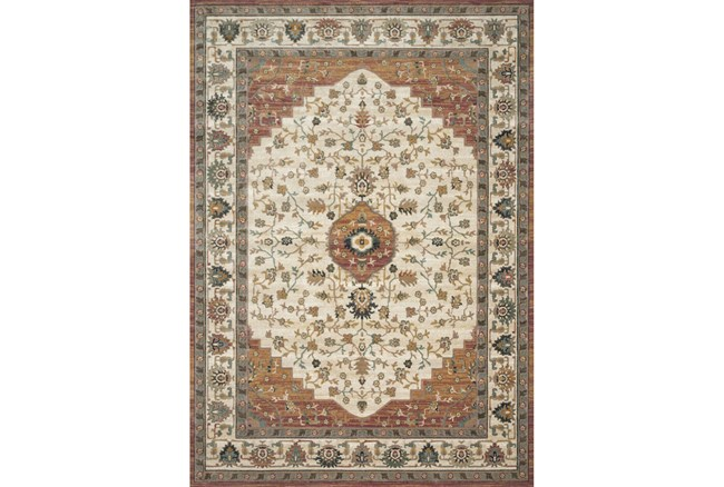 91X130 Rug-Magnolia Homes Evie Ivory/Terracotta By Joanna Gaines - 360