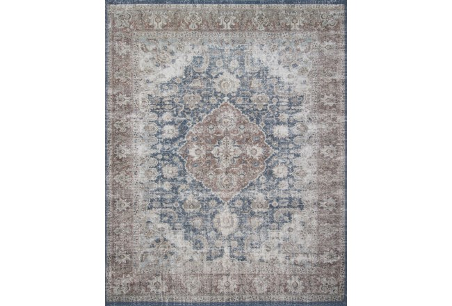 90X114 Rug-Magnolia Home Lucca Denim/Terracotta By Joanna Gaines - 360