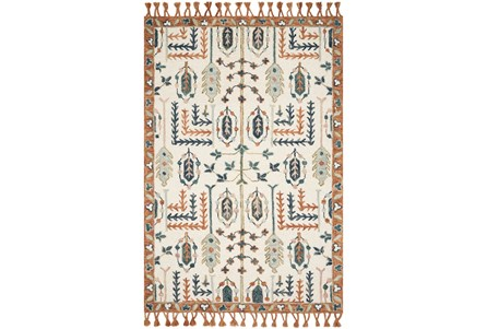 93X117 Rug-Magnolia Home Kasuri Ivory/Persimmon By Joanna Gaines