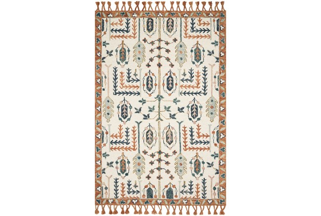 93X117 Rug-Magnolia Home Kasuri Ivory/Persimmon By Joanna Gaines - 360