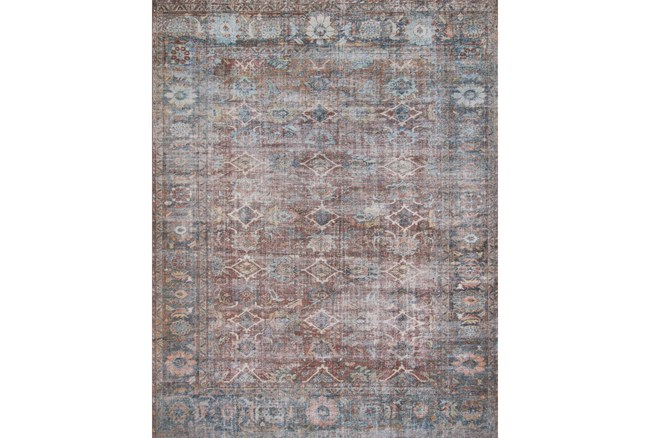 """2'5""""x7'5"""" Rug-Magnolia Home Lucca Brick/Ocean By Joanna Gaines - 360"""