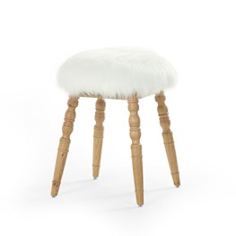 Cream Faux Fur Stool