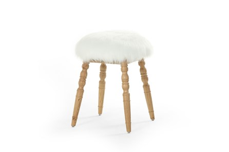 Cream Faux Fur Stool