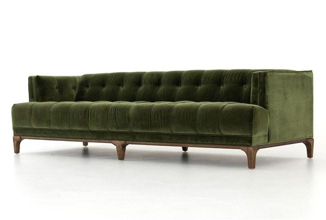 Deep Olive Velvet Sofa - 360
