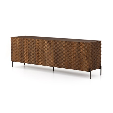 Carved Antique Brown And Gunmetal Media Console