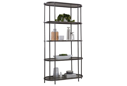 Rubbed Gunmetal Tempered Glass Bookshelf
