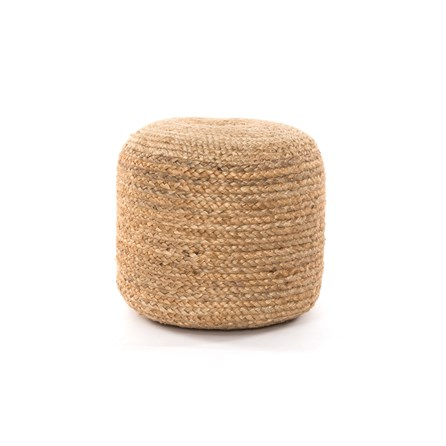 Natural Braided Pouf-Natural
