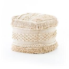 Cream Braided Fringe Pouf