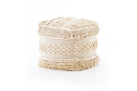 Cream Braided Fringe Pouf