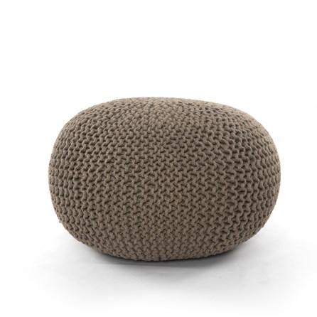 Clay Jute Knit Pouf