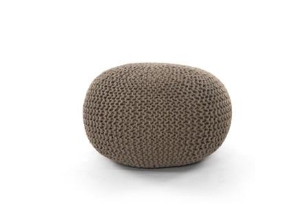 Clay Jute Knit Pouf - Main