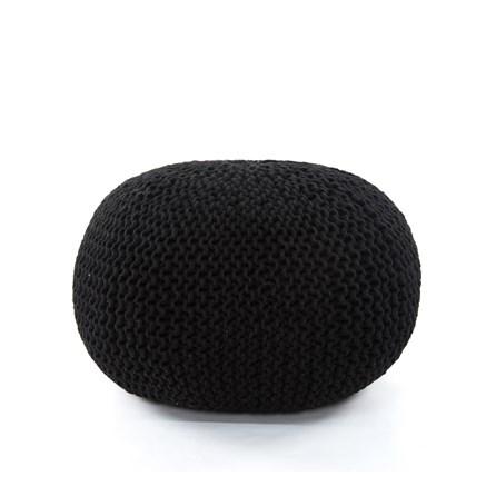 Black Jute Knit Pouf
