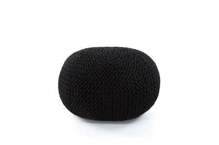 Black Jute Knit Pouf - Main