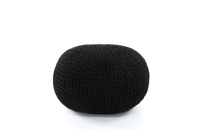 Black Jute Knit Pouf - 360