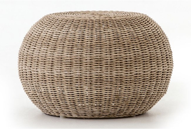 Vintage White Outdoor Accent Stool - 360