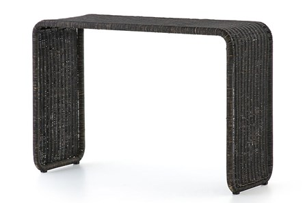 Painted Black Rattan Console Table