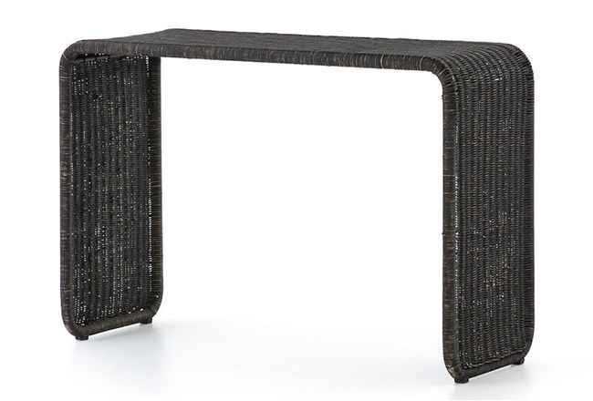 Painted Black Rattan Console Table - 360