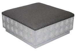 Rectangular Grey Linen Carved Ottoman
