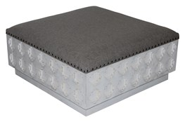 Rectangular Grey Linen Carved Ottoman