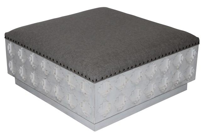 Rectangular Grey Linen Carved Ottoman  - 360