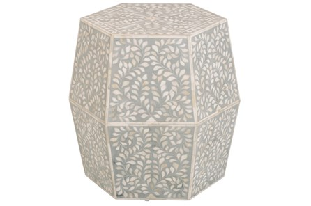 Grey Bone Inlay 19 Inch Oct Side Table