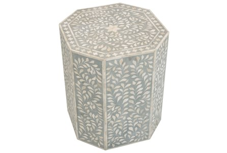Grey Bone Inlay 21 Inch Oct Side Table