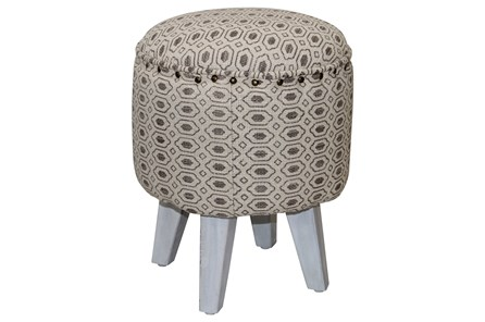 White & Grey Diamond Pattern Accent Stool