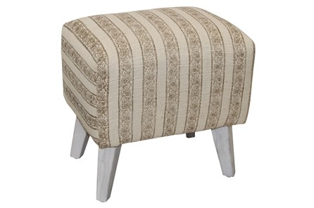 White & Grey Stripe Accent Stool