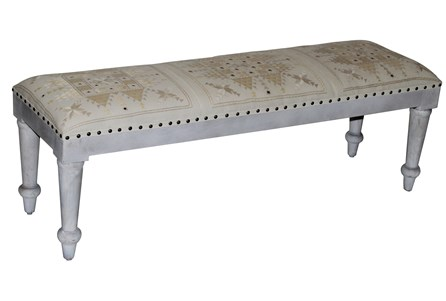 Natural Quilted & Mirrored White Wash Bench
