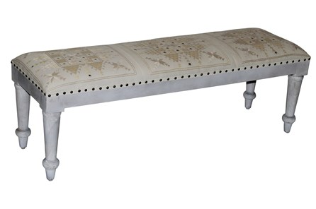 Natural Quilted & Mirrored White Wash Bench - Main