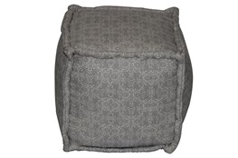 Grey & Natural Mixed Pattern Square Pouf