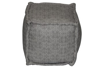 Grey & Natural Mixed Pattern Square Pouf